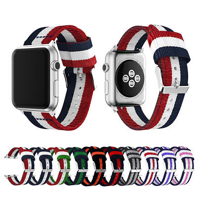 AU6.87 • Buy Nylon Sport Band Stripe Strap For Apple Watch Series 6 5 4 3-1 40/44mm IWatch SE
