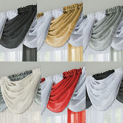 £6.99 • Buy GLITTER Diamante Trim Sparkle Voile Curtain Swag Ready Made Single Swag