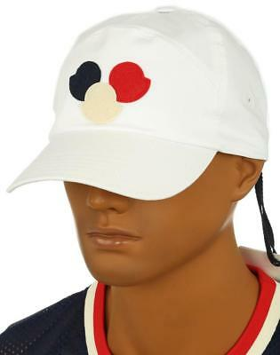 909d8d7064a New Moncler Men s White Cotton Logo Baseball Cap Hat One Size Made In Italy  • 149.99