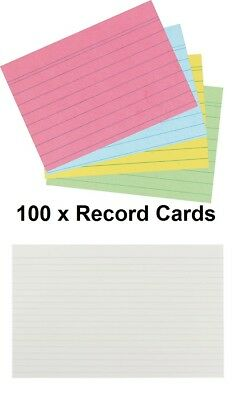 £2.99 • Buy MADE IN UK- Record Revision Index Flash Cards White / Colour Lined  Home/Office
