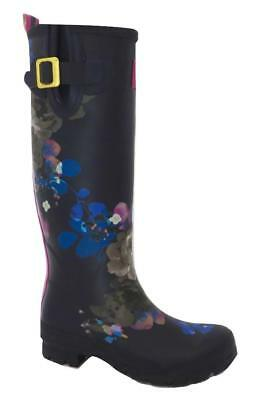New NIB Joules Tall Navy & Pink Floral Wellyprint Wellies Rain Boots Rainboots • 59.99$