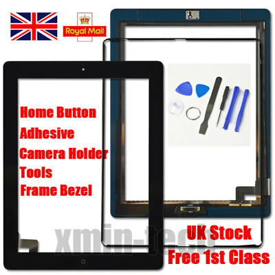 £7.92 • Buy Black For IPad 2 Screen Touch Digitizer Replacement Mid Frame Bezel Home Button