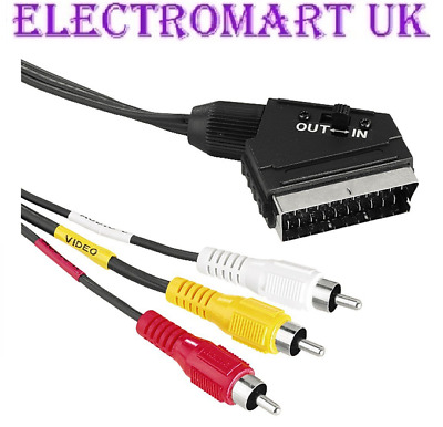 Scart Plug Male Switched In Out To 3 Phono Rca Stereo Audio Video Cable 1.5m • 4.90£