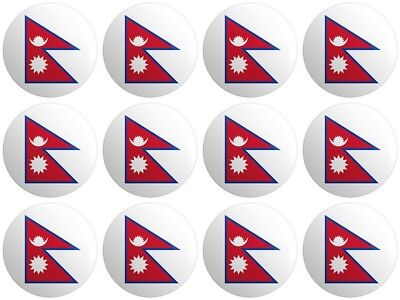 12 X Nepal Flag BUTTON PIN BADGES 25mm 1 INCH  Nepalese • 3.99£