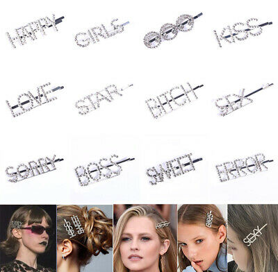 Diamond Words Letters Hair Clip Hairpin Barrette Slide Grips Jewelry Headpiece • 1.89£
