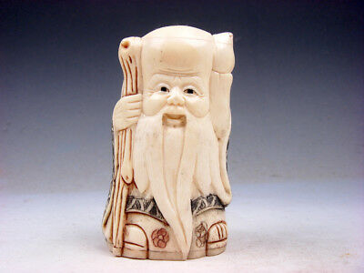 £86.91 • Buy 3  Highly Detailed Hand Crafted Japanese Netsuke Long-Life God Cane & Peach #D