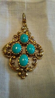 £345 • Buy Gold & Turquoise Pendant. 9ct 1912 Edwardian Diamond Shaped