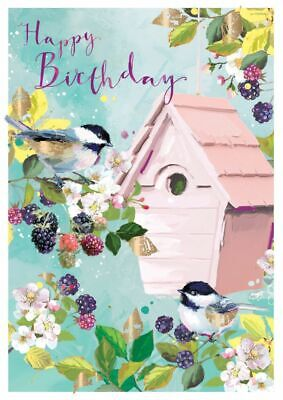 Birthday Card - Birds Amongst The Blackberries - At Home Ling Design Quality NEW • 2.69£