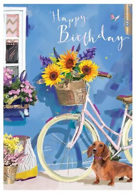 Birthday Card - Bicycle Dachshund Sunflowers - At Home Ling Design Quality NEW • 2.69£