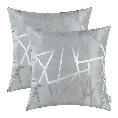 $ CDN18.14 • Buy 2Pcs Silver Gray Cushion Cover Pillow Case Decor Geometric Abstract Lines 18x18