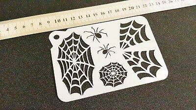 £3.75 • Buy COBWEB SPIDERS Halloween Airbrush Paint Stencils Face Body Wall Cake Party Web