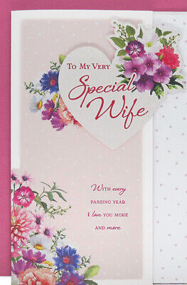 Large Happy Birthday Wife Card 8 Page Verse Card Special Keepsake Gift Card • 4.99£