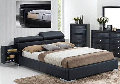 $1095 • Buy Breola Black Bycast Leather Modern Queen King Bed Built-in Nightstand & Storage