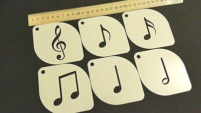 £4.95 • Buy Set Of 6 Pcs Music Notes Clef Airbrush Paint Stencils Face Body Craft Party Spry
