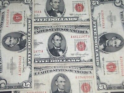 $ CDN51.02 • Buy 1963 $5 Legal Tender  Red Seal  (Lot Of 5) East Coast Coin & Collectables, Inc.