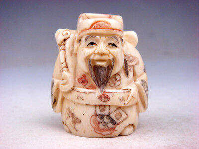 £57.94 • Buy Japanese Detailed Hand Carved Netsuke Sculpture Wealth Rich Immortal #01251906