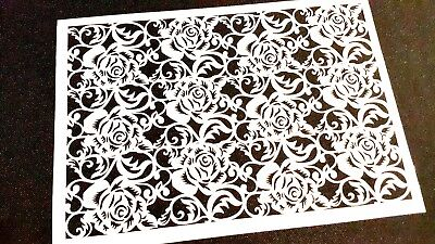 £11.95 • Buy Lace Roses Pattern Decorative Stencil Face Body Paint Cake Airbrush Icing Wall