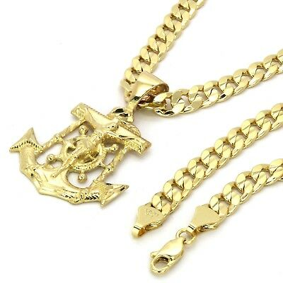 $12.95 • Buy Mens 14k Gold Plated Jesus Anchor Pendant 6mm 30  Inches Cuban Necklace Chain