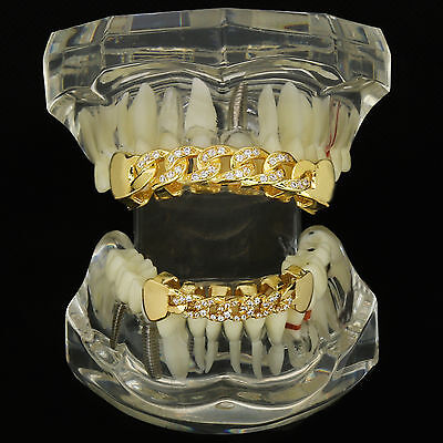£180.96 • Buy Cuban Style 18K Gold Plated HQ Fully CZ Top & Bottom GRILLZ Mouth Teeth Grills