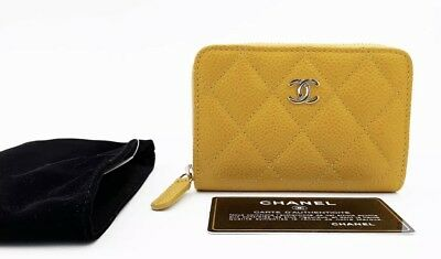 2dbfdbf6d27f Authentic Chanel 2017/2018 Caviar Yellow Classic Card Holder O-card Zip  Wallet •
