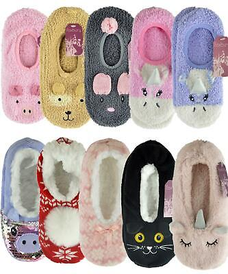 AU11.99 • Buy Ladies Ballerina Soft Fleece/Knitted Slippers With Grip Sherpa Lined/Unlined