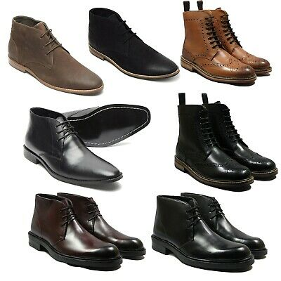 New Mens Lace Up Leather Chelsea Boots Wedding Office Lucini Shoes Smart Casual • 34.99£