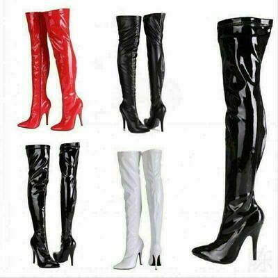 £29.99 • Buy New Womens Ladies Thigh High Over The Knee High Heel Stretch Boots Sizes UK 3-12