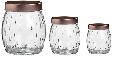 Airtight Round Glass Food Storage Jars Canisters Containers With Copper Lid • 6.49£