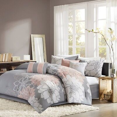 $ CDN170.90 • Buy Queen Size Lola Comforter Set Cotton Grey Neutral Brown Madison Park MP10-5670