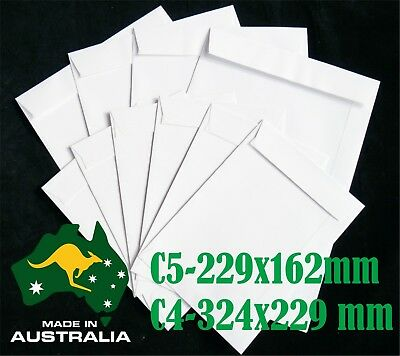 AU11.95 • Buy C5(229x162mm) C4(224x229mm) 100Gsm White Envelopes Shipping Mailers