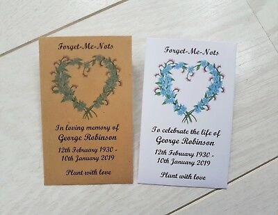 £2.50 • Buy 10 Personalised Forget Me Not Seed Packets Envelopes Funeral Filled Or Unfilled