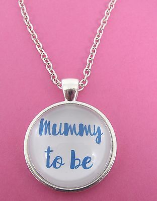 £4.99 • Buy Blue Mummy To Be Silver Plated Glass 18  Necklace New In Gift Bag Pregnancy Mum