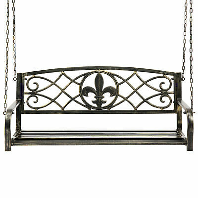 $167.90 • Buy Outdoor Hanging Slat Metal Patio Porch Swing Chair Bronze Color Antique Style