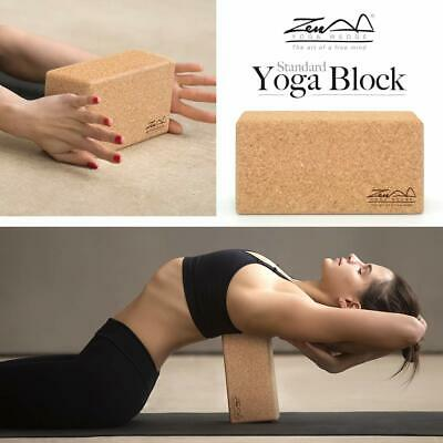 Cork Wood Exercise YOGA BLOCK Brick For Fitness Stretching Aid Gym Pilates UK • 12.99£