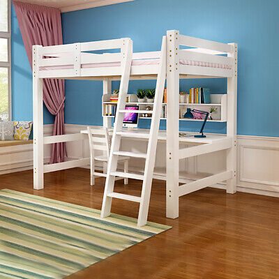 High 3ft Single Bed Kids Bunk Sleeper Loft Cabin Bed With Ladder Pine Wood Unit • 185.95£