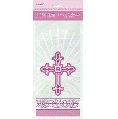 20 X Pink Cross Cello Gift Bags Girls Confirmation Communion Christening Party • 2.55£