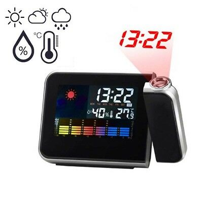AU16.23 • Buy LCD Digital LED Projector Projection Weather Station Calendar Snooze Alarm Clock