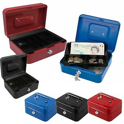 Petty Cash Money Safe Box Deposit Steel Tin Security Organiser With 2 Keys • 7.25£