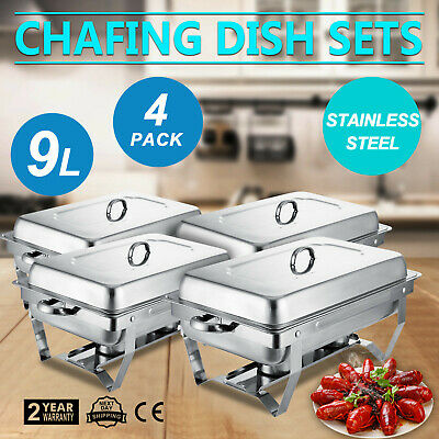£127.99 • Buy Chafing Dish Set 4 Packs Of 9L Chafer Dish Stainless Steel Buffet Warmer Tray