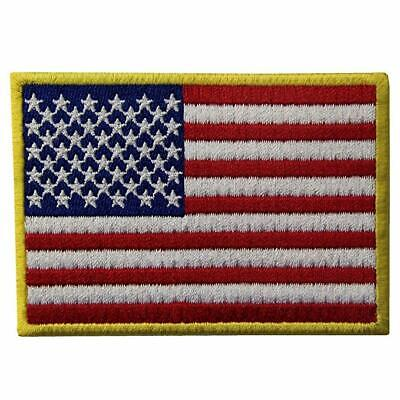 Gold Embroidery Usa United States Of America Flag Iron Sewon Jeans Clothes Patch • 2.95£