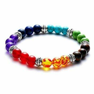 AU3.22 • Buy 7 Chakra Healing Beaded Bracelet Natural Lava Yoga Reiki Stone Bracelet Jewelry
