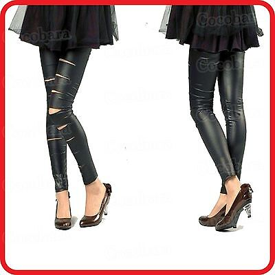 Black Cut-out Bandage Ripped Slit Leather Look Zentai Sexy Leggings Pants • 8.47£
