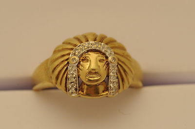 £270.93 • Buy 9ct Gold Diamond American Indian Chief Head Ring - 4.8grams - Size 10.25