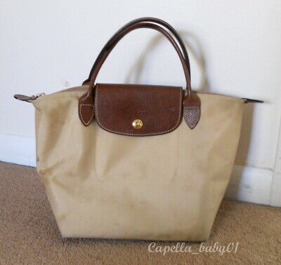 5bb130601cd1 Authentic Longchamp Le Pliage Small Nylon Top Handle Tote Brown Beige •  9.99