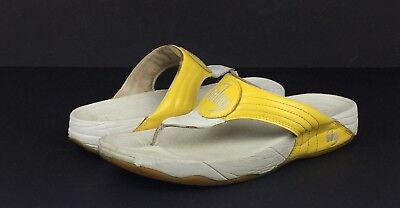 fb9193bad774c9 FitFlop Walkstar 3 Women s Yellow White Leather Flip Flops Sandals Size 11   110 •