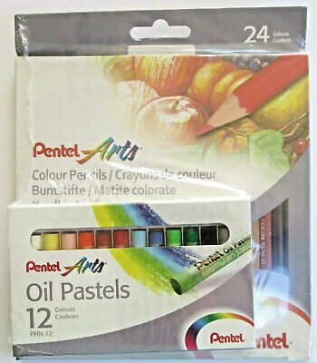 Pentel Arts - 24 Colour Pencils & 12 Oil Pastels Sets ~ New • 8.89£