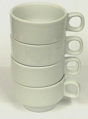 £5.99 • Buy Pack Of 4 Stackable White Porcelain Coffee Cups Mugs Tea Chocolate Latte 200ml