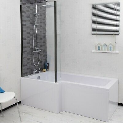 £329 • Buy Bathroom 1700mm LH L Shaped Shower Bath Glass Screen End Front Panel Acrylic