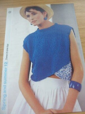 RARE VINTAGE 1980S 1985 KNITTING PATTERN LADIES COTTON CROPPED TOP 32 38 In • 3.99£