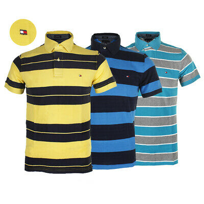 e690f7a5 Tommy Hilfiger Men's Short Sleeve Striped Custom Fit Mesh Polo Shirt •  20.99$